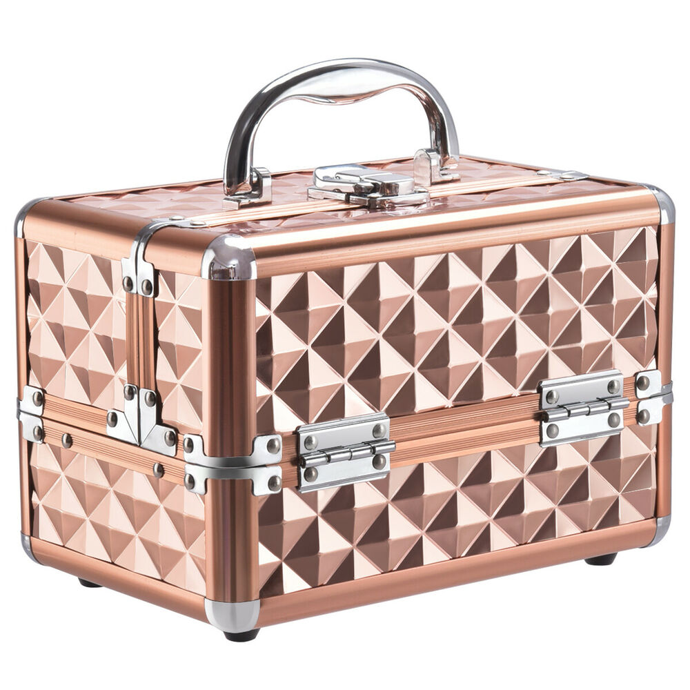 beauty cosmetic makeup case organizer with mirror extendable trays rose gold ebay. Black Bedroom Furniture Sets. Home Design Ideas