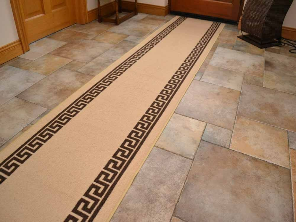 Beige Brown Non Slip Rubber Backed Hall Runners Extra Long
