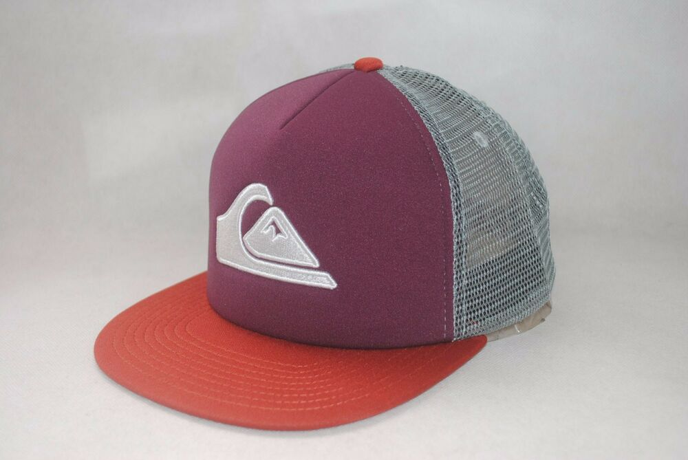 2932684317c3f Details about New Quiksilver Mesh Trucker Cap Flat Brim Snapback Men s Dark  Purple Hat OSFM