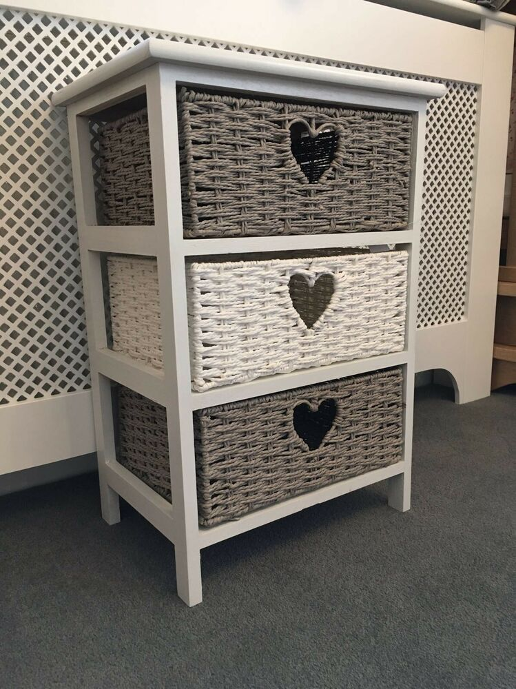 Grey Bedside Tables: White Grey Wicker Storage Chest Of Drawers Bedside Table