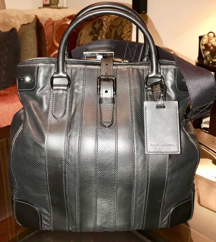 eecc76172a4d Details about Ralph Lauren Black Label Gents Leather Travel Tote Bag Made  in Italy Polo BLACK