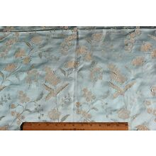 Lovely Antique French Ice Blue Lyon Silk Home Dec Fabric Sample c1870~39