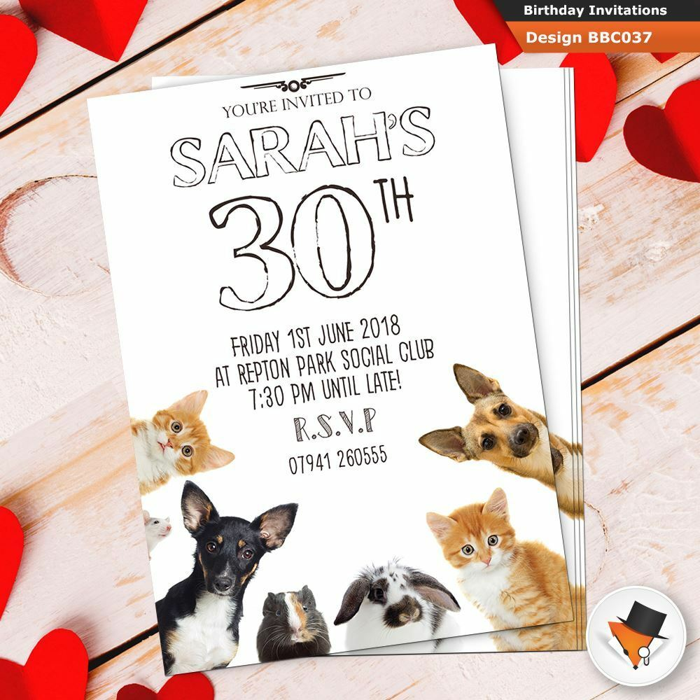 Details About Personalised Dogs Funny Birthday Party Invitations Invites Envs 30th 50th