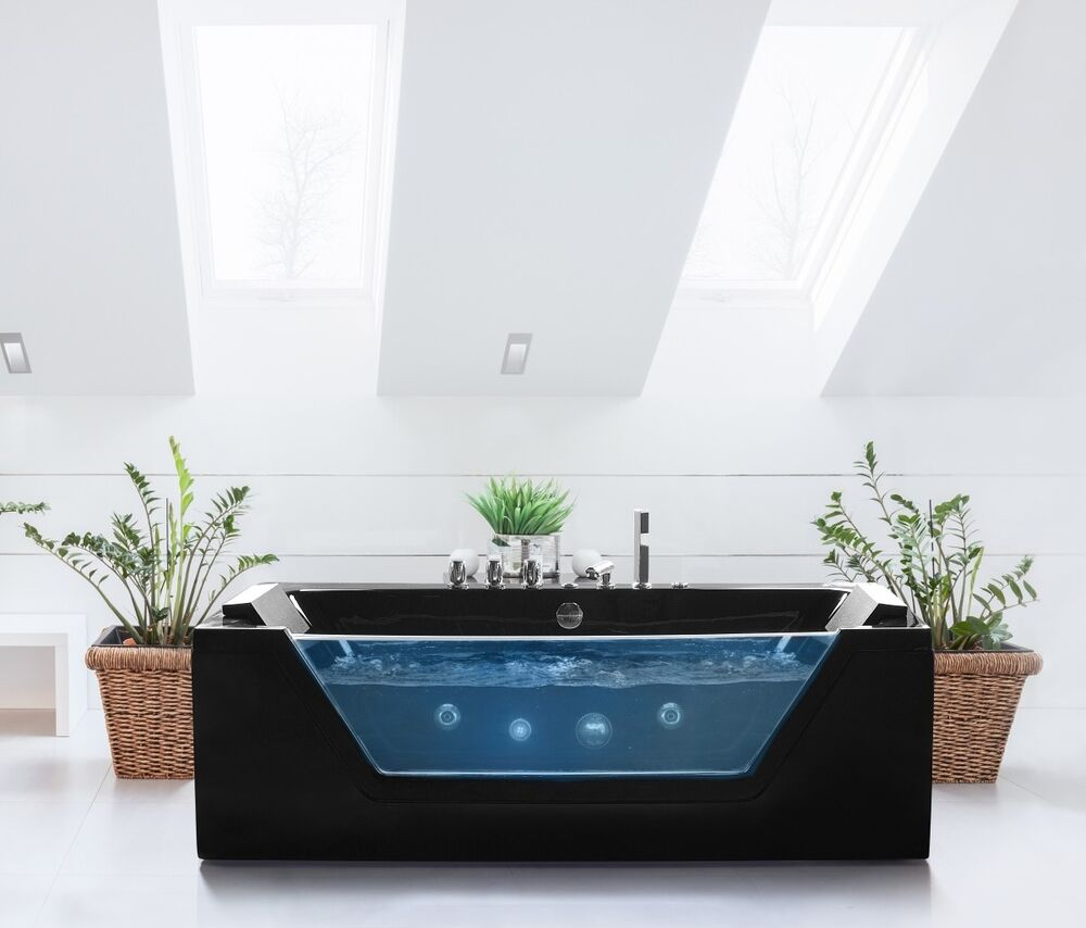 whirlpool badewanne schwarz freistehend mit glas led licht armaturen spa f r bad ebay. Black Bedroom Furniture Sets. Home Design Ideas