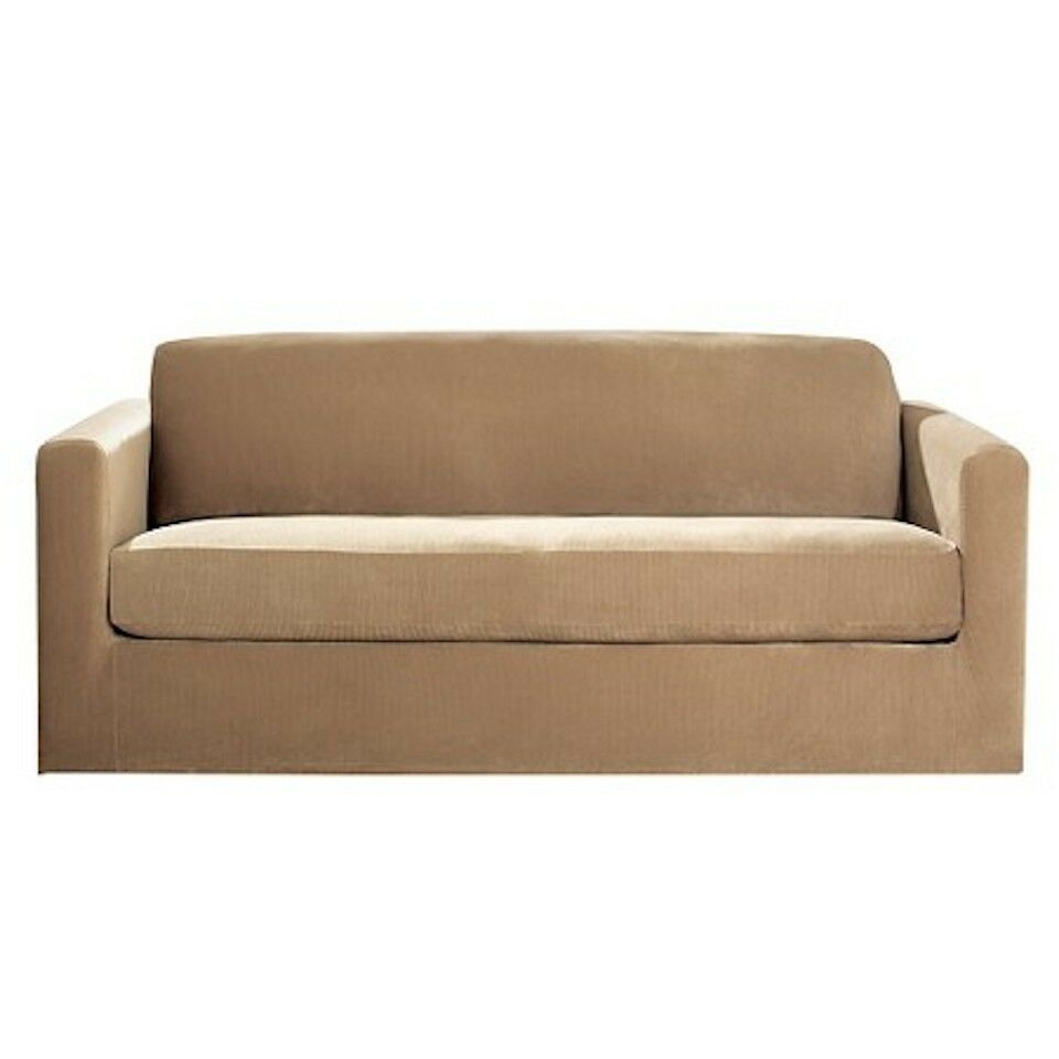 Sure Fit Stretch Rib Two Piece Sofa Slipcover Tan Ebay