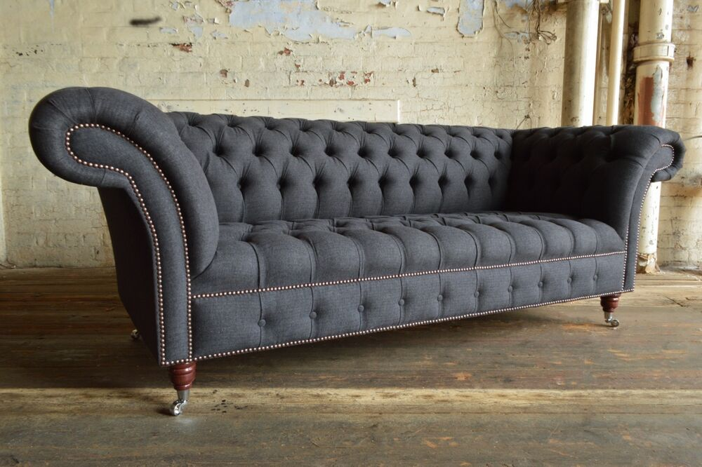 modern handmade 3 seater charcoal grey wool chesterfield sofa couch chair ebay. Black Bedroom Furniture Sets. Home Design Ideas