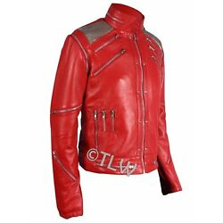 Beat It Leather Jacket Michael Jackson Thriller RED , ALL SIZES , Fast Shipping