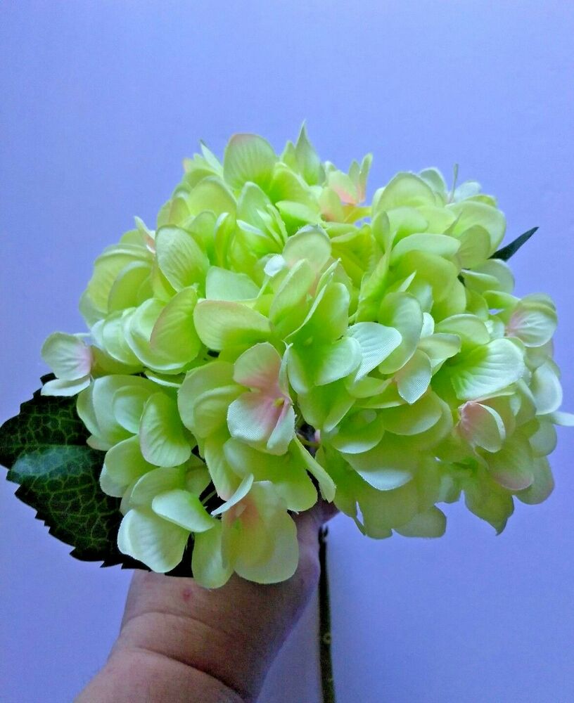 18 Lime Colored Hydrangea Stems Silk Floral Flower Arrangements