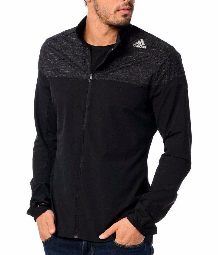bce120e86ad3 Details about Men s New Adidas Running Windbreaker Jacket - Fitness Sports  Gym Jogging - Black