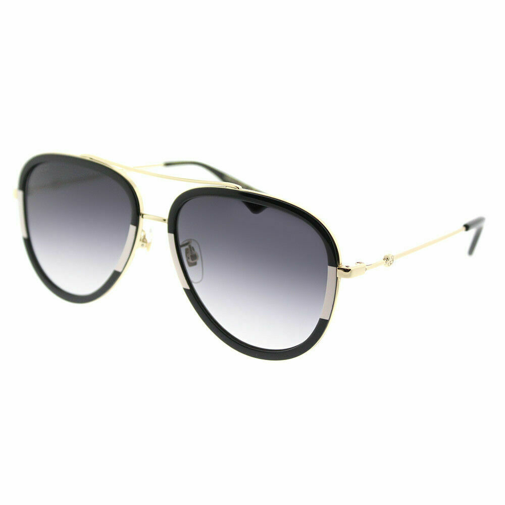 6a34beb8c7c8e Details about Gucci GG 0062S 006 Black White Metal Aviator Sunglasses Grey  Gradient Lens
