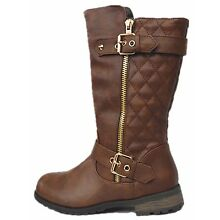 Mango-21K Kids Girls Quilted Pattern Boots with Golden Zipper and Buckles