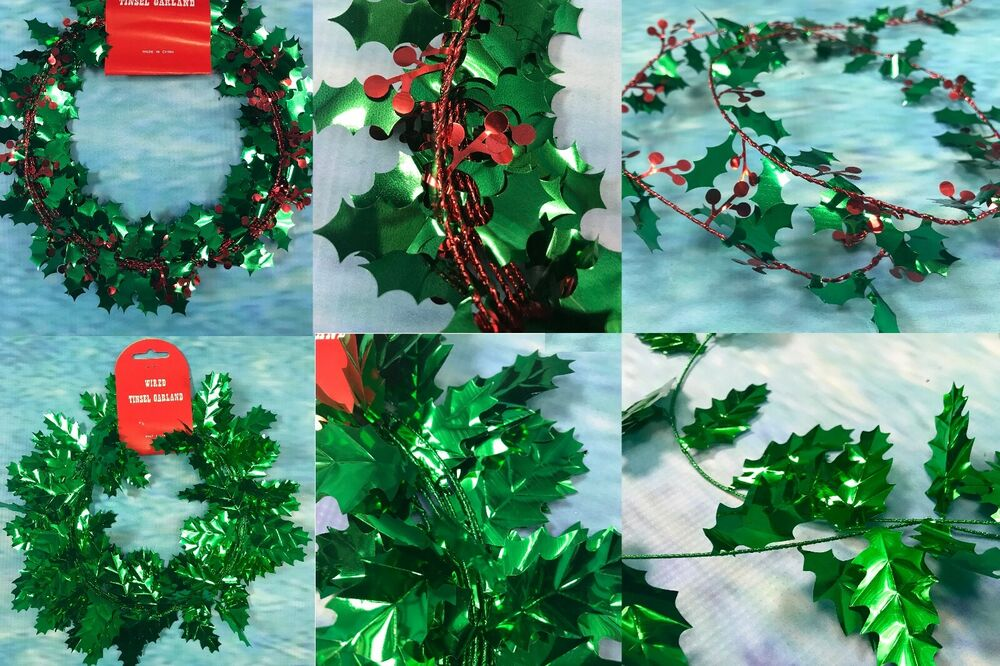 39ft / 11.7m Christmas Wired Tinsel Garland-Holly Garland 3 x 13ft ...