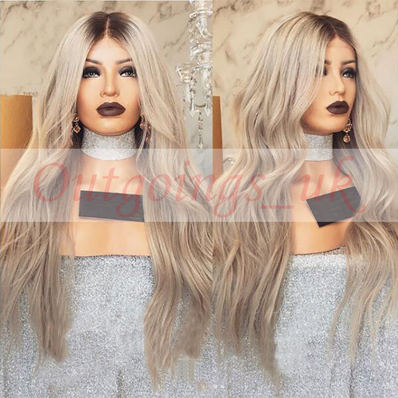 Brazilian 100 Real Human Hair Wig Ombre Blonde Wavy Remy