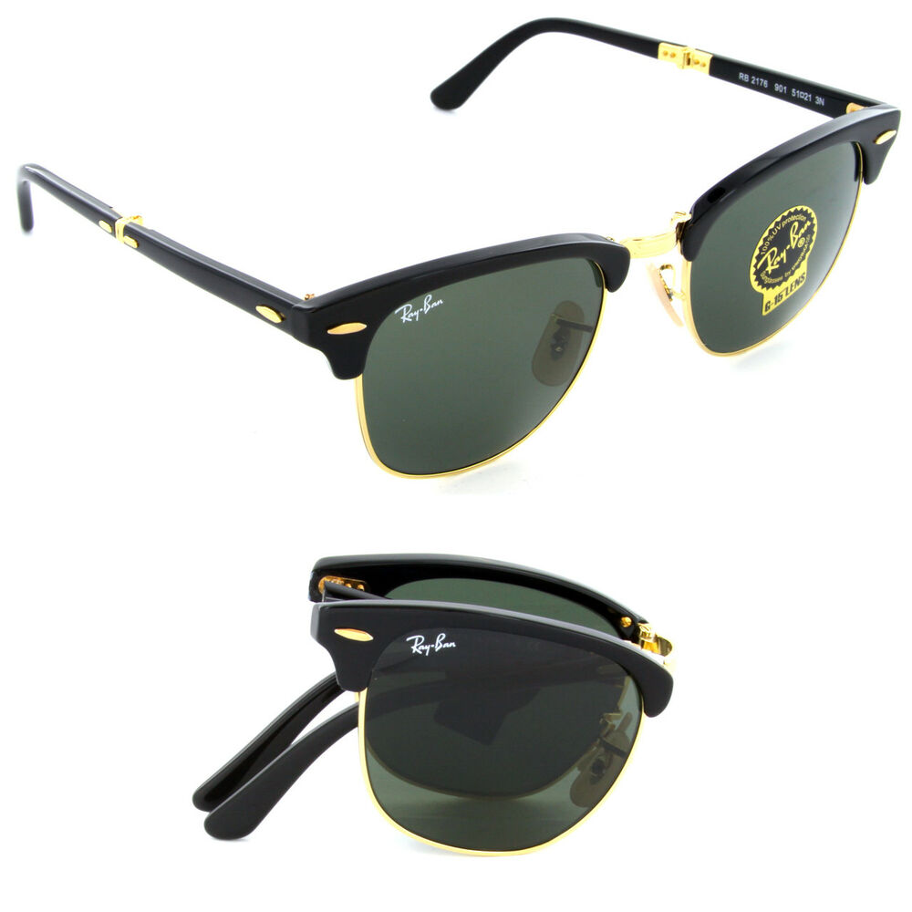 1e50414011a Details about New Ray Ban Folding Clubmaster RB2176 901 Black w Green G-15  51mm