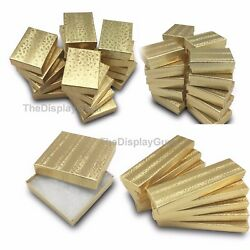 Kyпить Gold Foil Cotton Filled Gift Boxes Jewelry Cardboard Box Lots of 12~25~50~100 на еВаy.соm