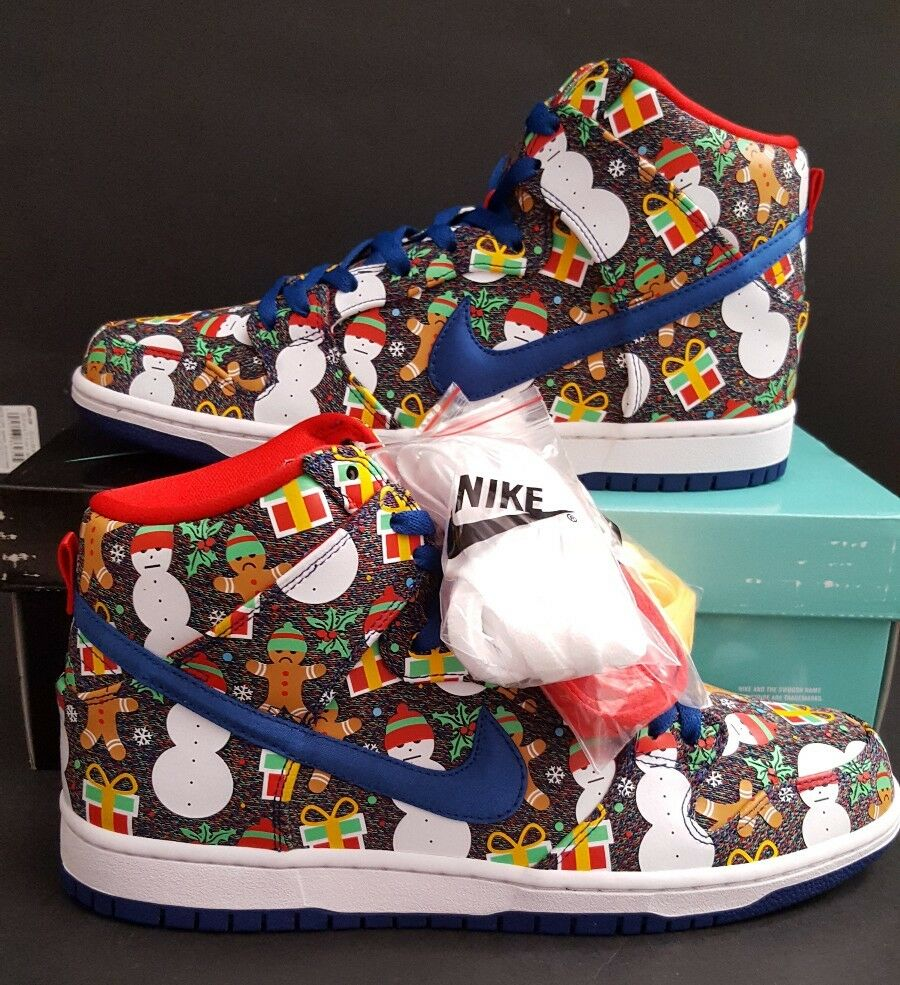 pretty nice dd1a8 9bd5a Details about Nike SB Dunk High TRD QS Ugly Christmas Sweater Concepts SZ  10.5 RARE 881758 446