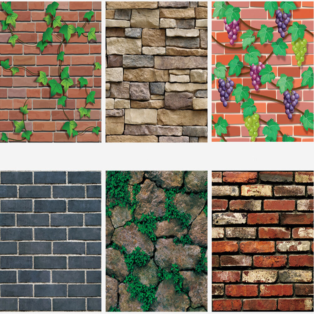 Vertical Brick Wall Accents Wall Decal: 1M/Roll 3D Mural Decal Brick Stone Wall Sticker PVC Self