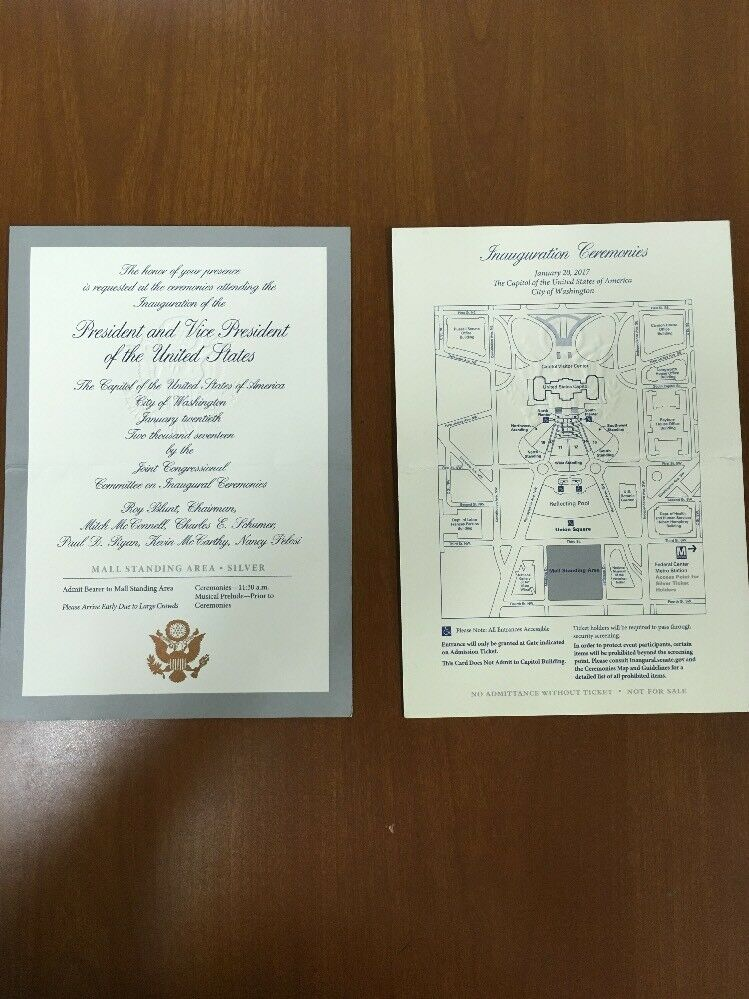2017 president trump pence inauguration ceremony presidential 2017 president trump pence inauguration ceremony presidential invitation letter ebay stopboris Image collections
