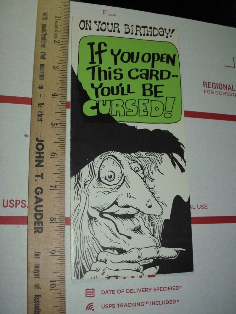 Details About XXX Dirty Birthday Card Greeting Comic Funny Peppermint Stick Witch Fuk You Off