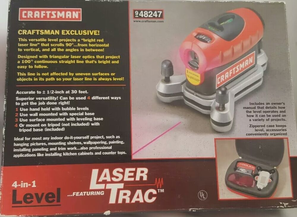 craftsman 4 in 1 level with laser trac model 320 48247 ebay rh ebay com Craftsman 360 Degree Level System craftsman 4-in-1 level with laser trac manual