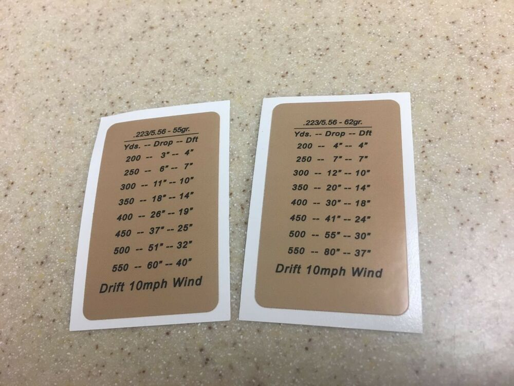 two ar15 223 5 56 55 62 gr drop chart dope windage decal stock