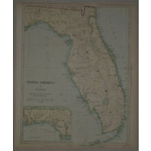 1834 Genuine Antique. Lovely hand colored map of Florida, early settlement. SDUK