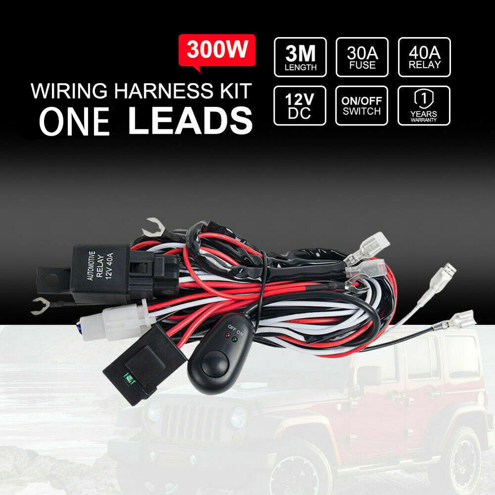 Wiring Loom Harness Kit Relay Switch 40a Hid Led Spot Work Driving Light Bar 12v Ebay