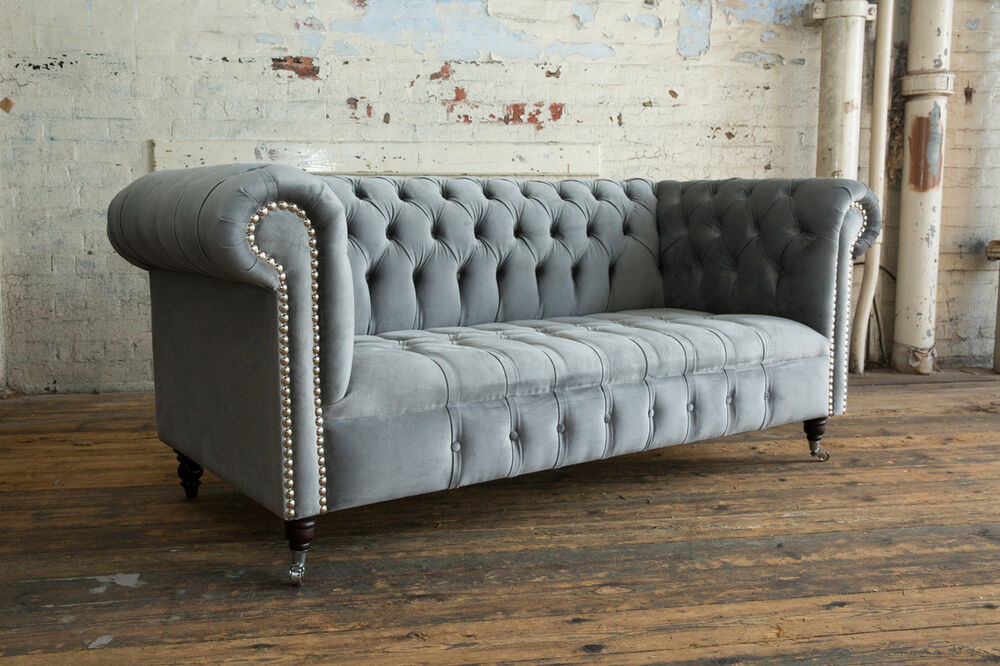 gray velvet chesterfield sofa gray velvet chesterfield sofa 67 with thesofa. Black Bedroom Furniture Sets. Home Design Ideas