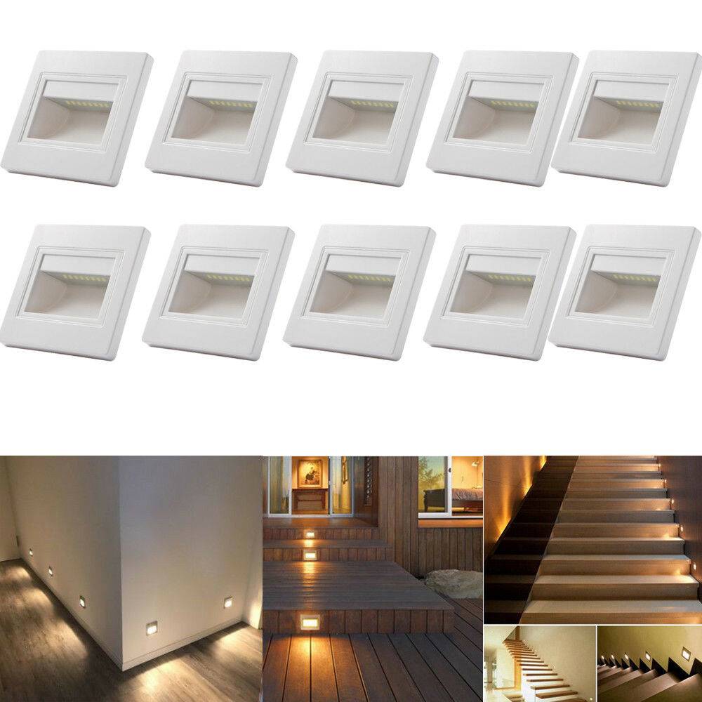 Canned Ceiling Lights Basement Stairs: 10 X 0.6W Warm White LED Wall Recessed Stair Step Lights