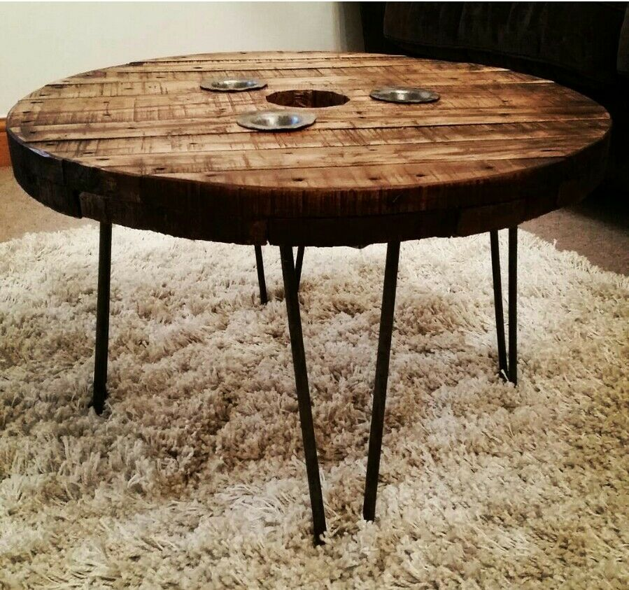 industrial cable drum reel round wooden coffee table vintage retro hairpin legs ebay. Black Bedroom Furniture Sets. Home Design Ideas