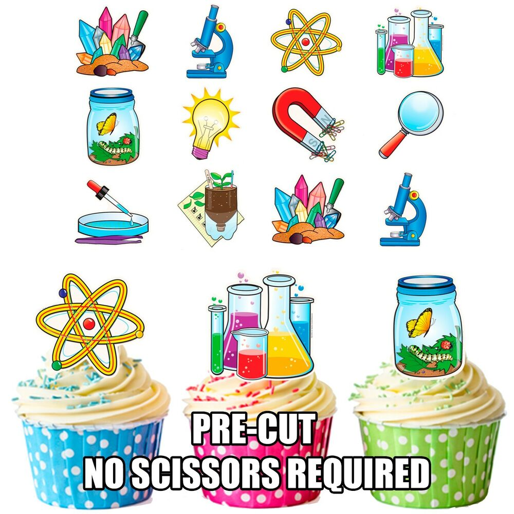 PRECUT Science Party Themed Edible Cupcake Toppers ...