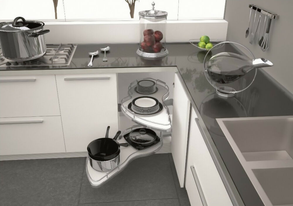Blind Corner Optimiser Pull Out Twin Shelves Corner Base