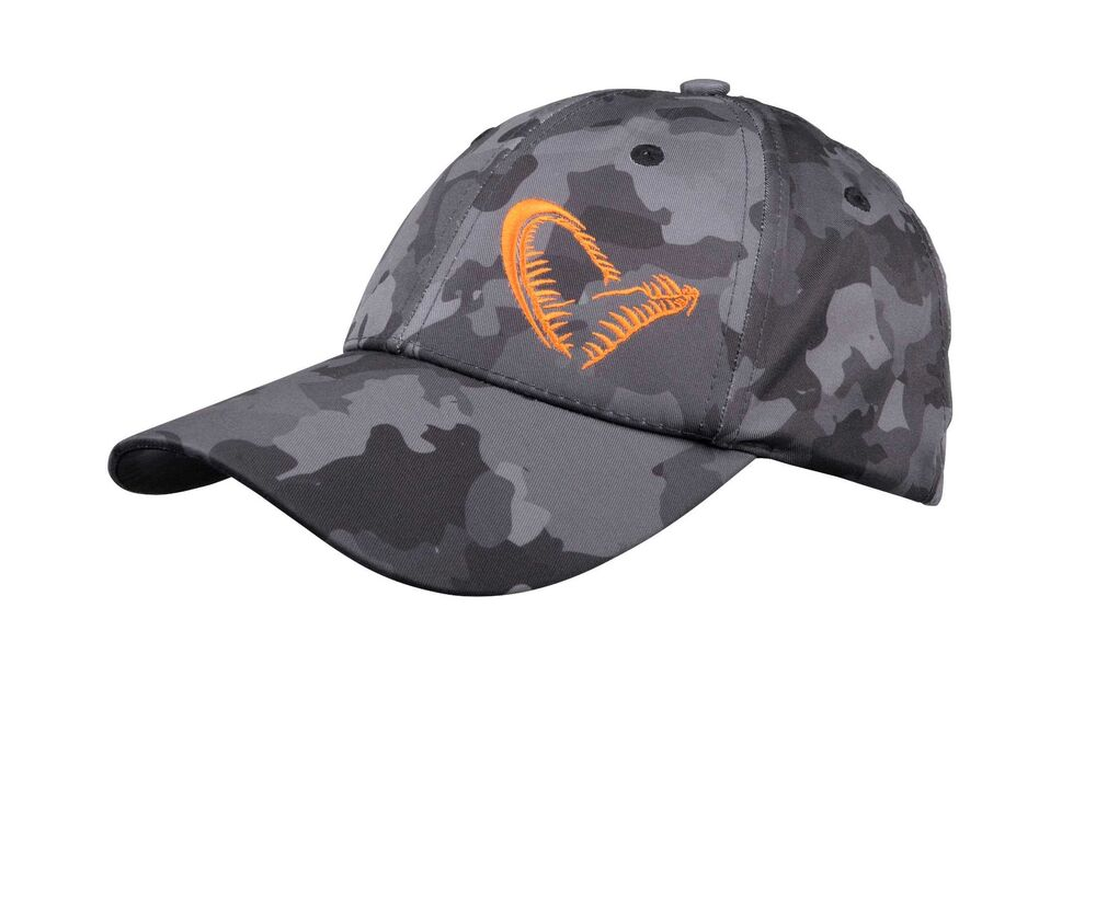 c92b44f0badcc8 Savage Gear Black Grey Savage Cap Schwarz Camo Muster Basecap Mütze SG  Orange | eBay