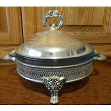 Vintage Chrome Footed Covered Round Stand & 2 Marinex Casserole Dishes