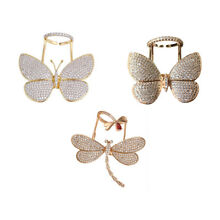 NEW Butterfly Dragonfly move wings on 18K gold plated kinetic rings