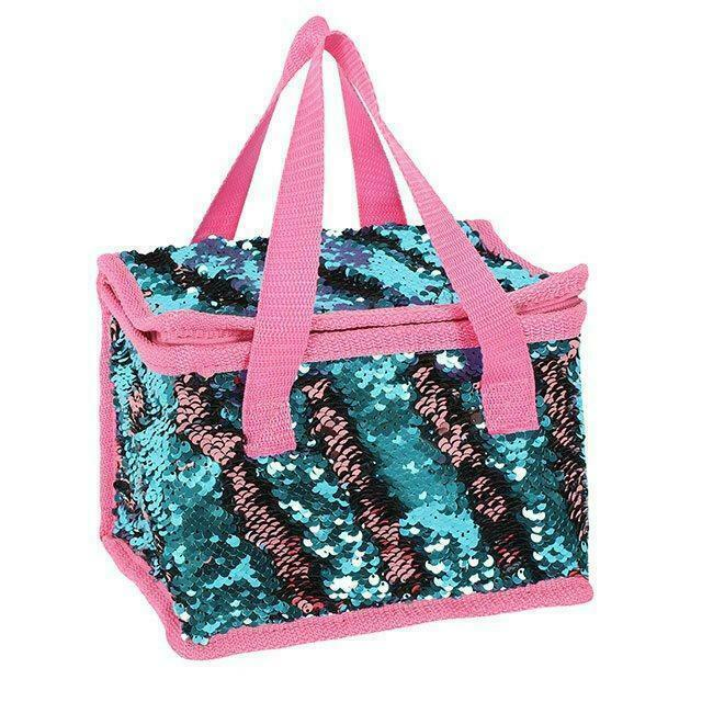 85d0edf1cb81 Details about Unicorn Mermaid Reversible Sparkly Sequin Children Adult Insulated  Lunch Bag