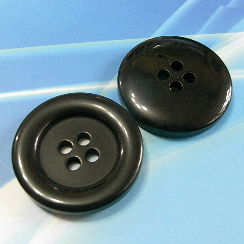 """6 Huge Extra Large Coat Overcoat Strong Sewing Buttons 38mm 1.5/"""" Black L176"""