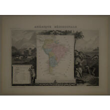 1850 Genuine Antique map of South America, elaborate engraving. by V. Levasseur
