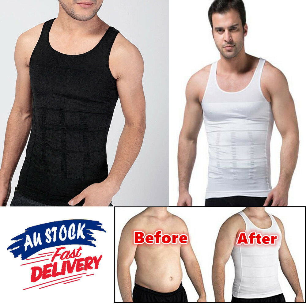 b77ae01571bb4 Mens Body Shaper Slimming Compression Vest Shirt Belly Trimmer Tummy  Underwear