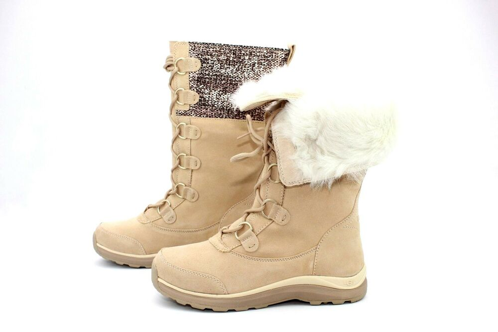 b4d83f6435 Ugg Atlason Frill Tall Suede Cream Color Winter Snow Boot Womens Size 9.5  US