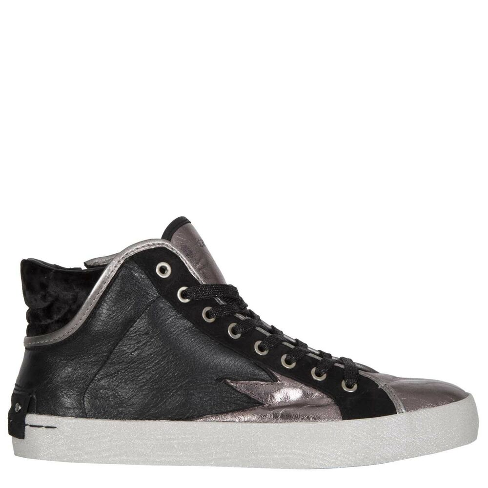 f29cac5d3c146b Details about CRIME LONDON BLACK   METALLIC LEATHER HI TOP TRAINERS ZIP  £165 37