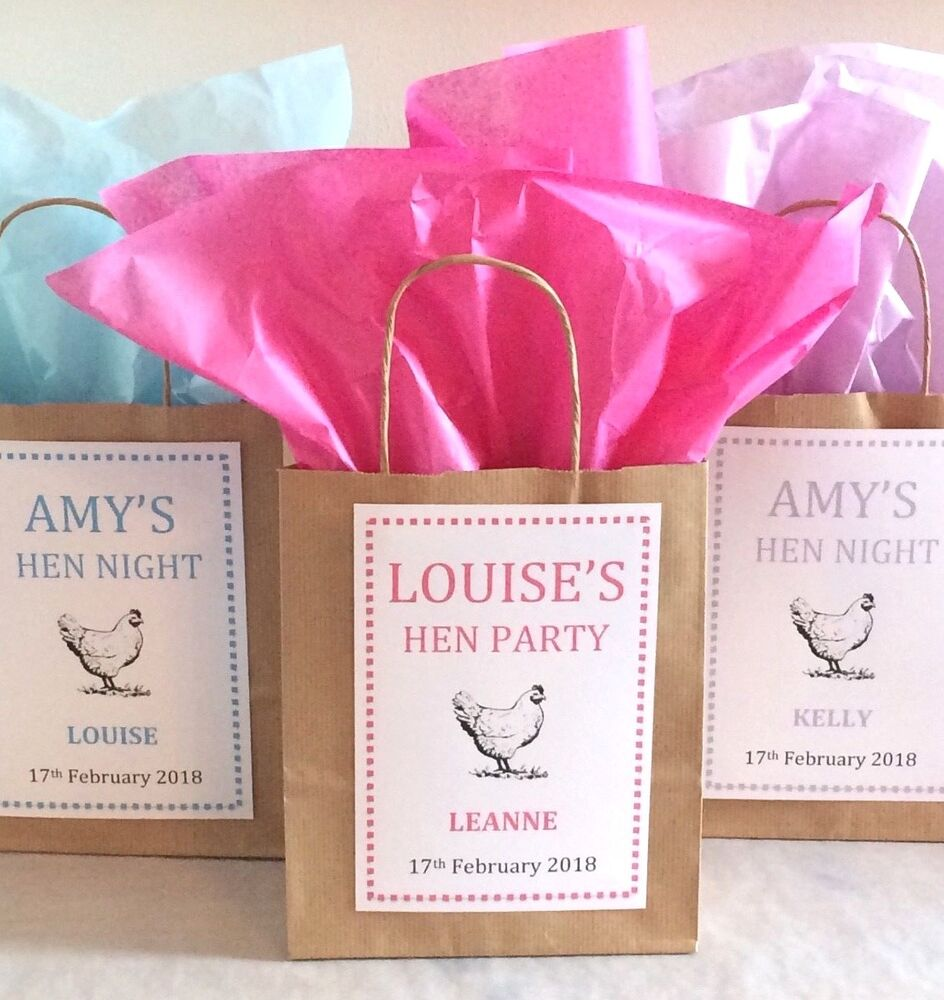 Personalised Brown Paper Hen Party Favour Bags/Gift/Wedding ...