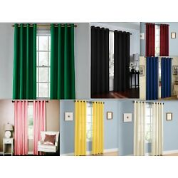 Kyпить 2 Piece Solid Faux Silk Grommet Window Curtain Panel - All Sizes NEW ARIVAL SALE на еВаy.соm