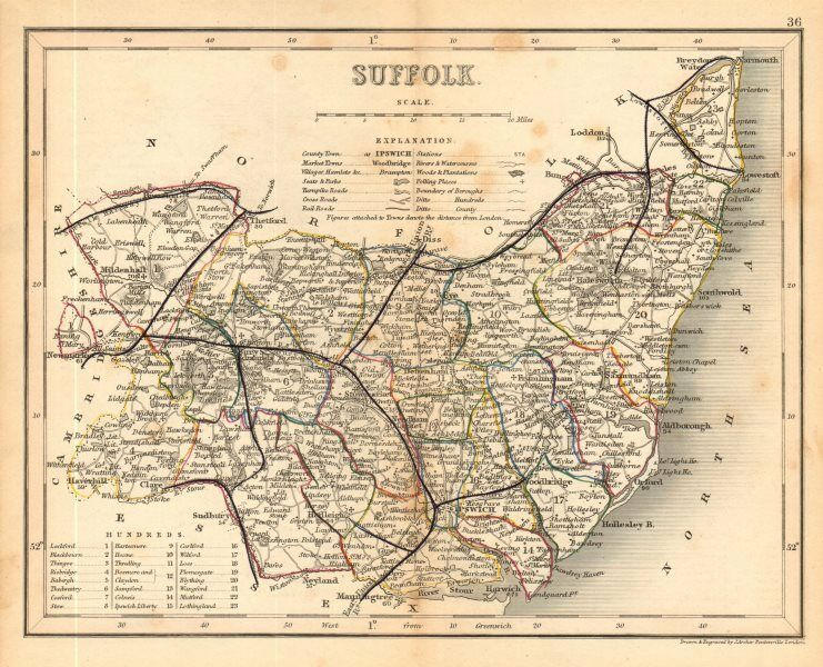 Suffolk County England Map.Suffolk County Map By Archer Dugdale Seats Polling Places 1845