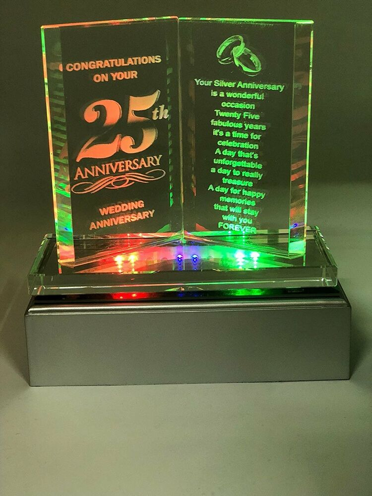 Led Wedding Anniversary Gift 25 Years Of Marrage Silver Anniversary