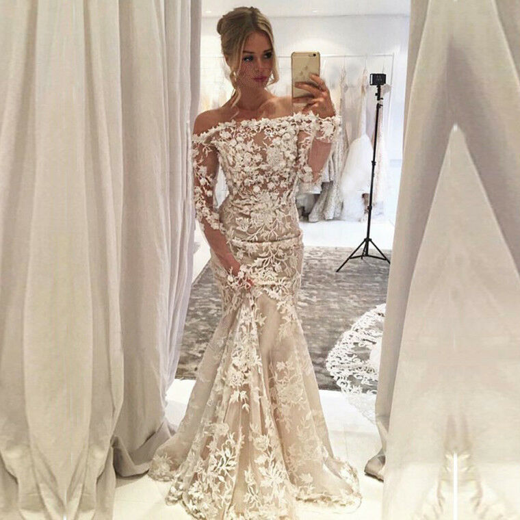 Sexy Long Sleeve Mermaid Prom Dresses White Lace Formal ...