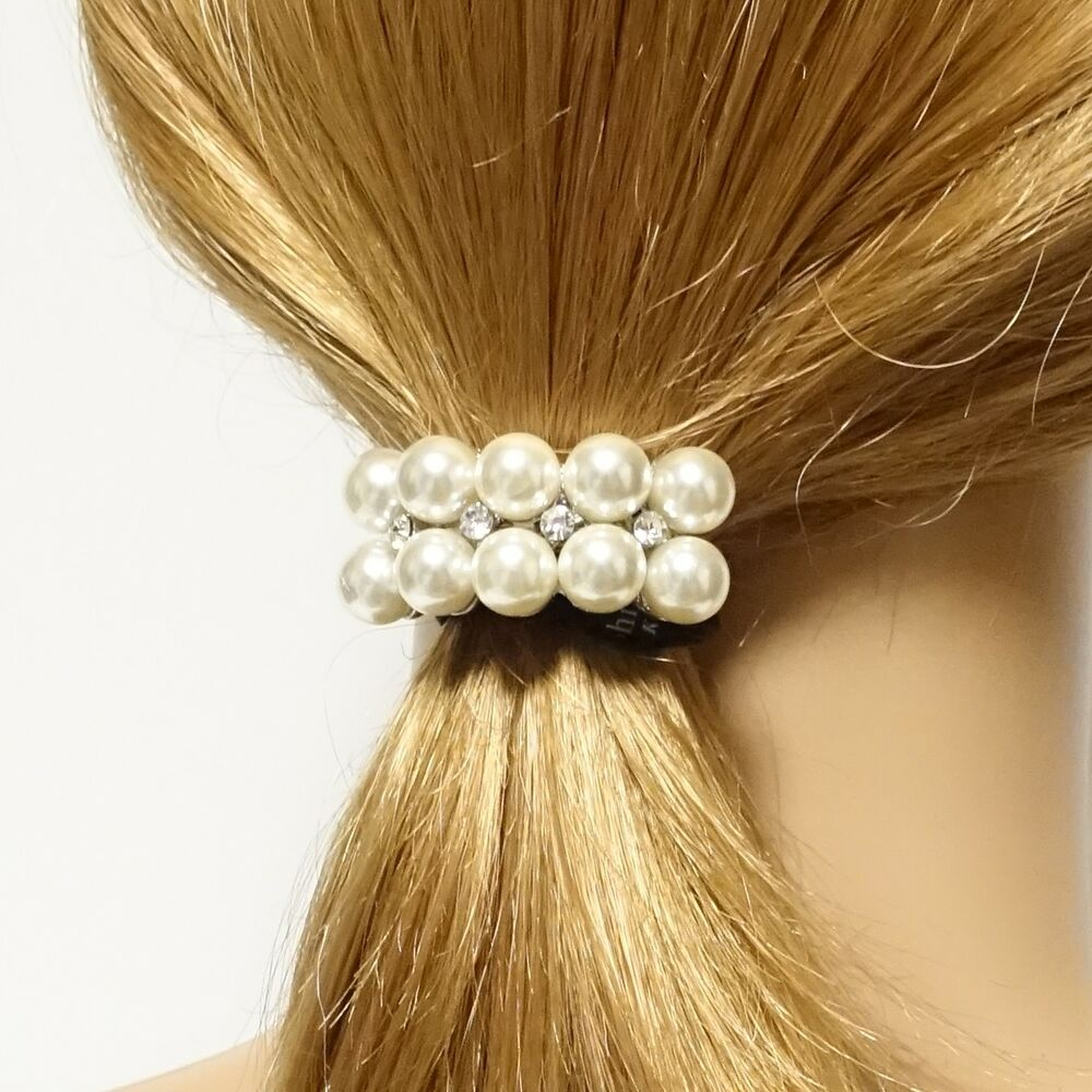 Details about Pearl Rhinestone Decorated Hair Elastic Ponytail Holder for  Women 2ac58f7bfba