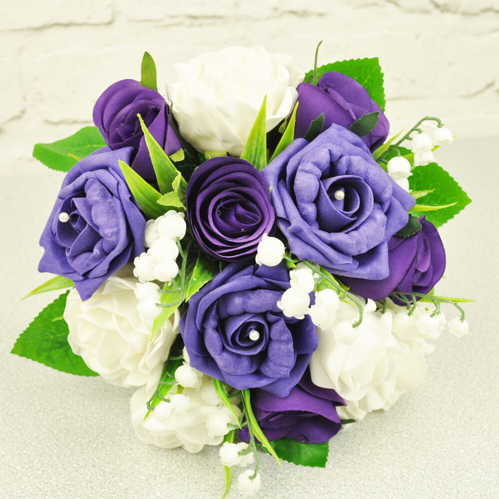 Artificial Silk Flowers Wedding Posy Purple White Rose Lily Of The