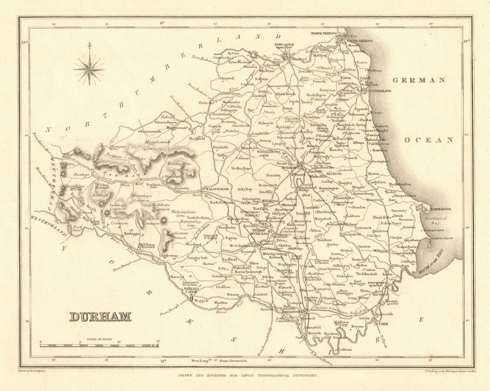 Antique county map of DURHAM by Starling & Creighton for Lewis c1840 on