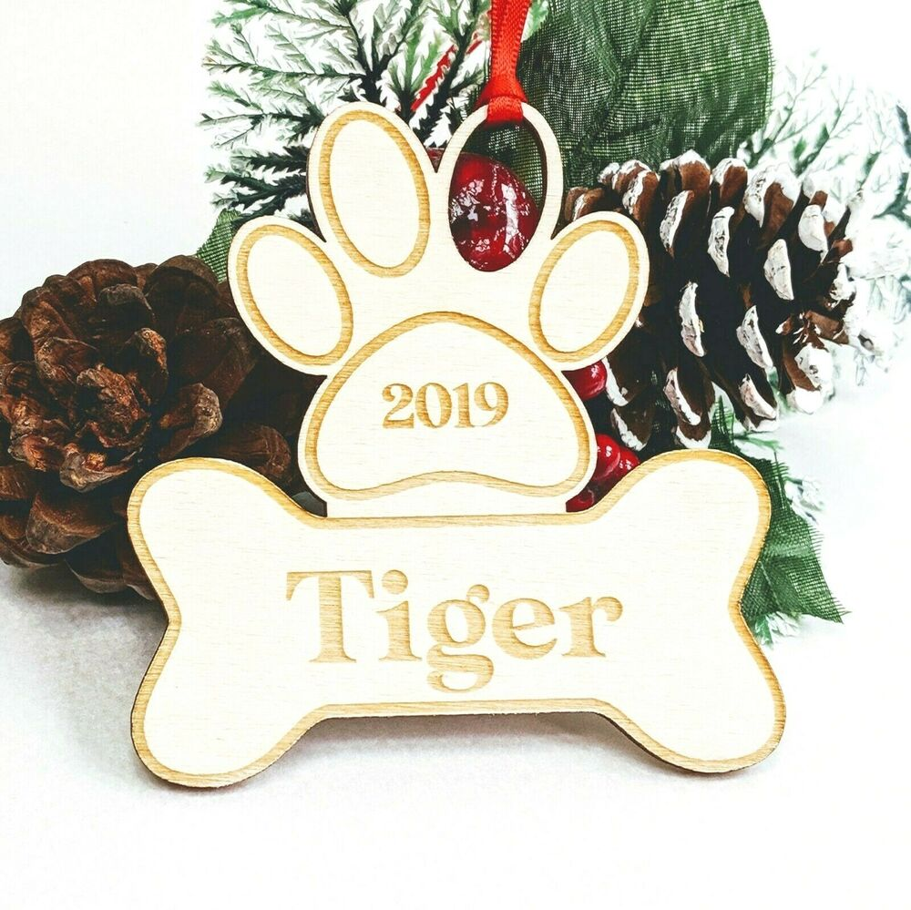 Personalised Wooden Christmas Tree Decoration Paw Custom